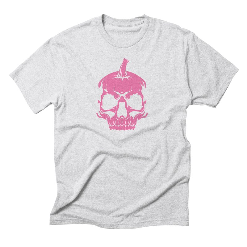 Pink Classic MPC Pumpkin Skull Logo Men's Triblend T-Shirt by Maniac Pumpkin Carvers Merch Shop
