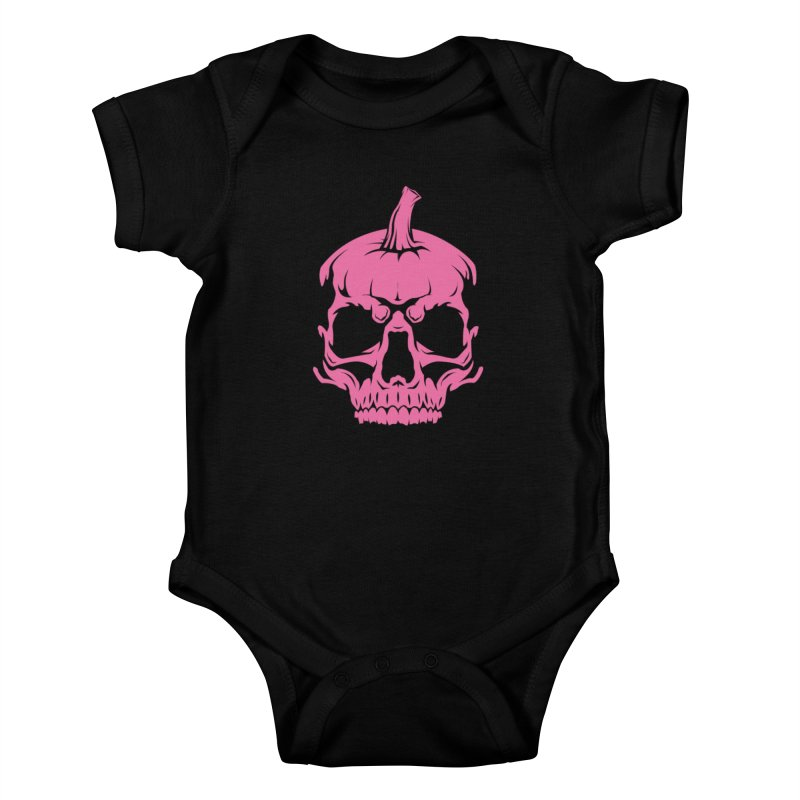 Pink Classic MPC Pumpkin Skull Logo Kids Baby Bodysuit by Maniac Pumpkin Carvers Merch Shop