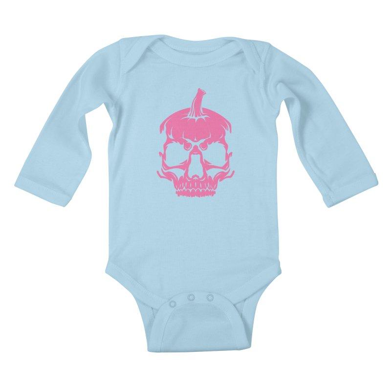 Pink Classic MPC Pumpkin Skull Logo Kids Baby Longsleeve Bodysuit by Maniac Pumpkin Carvers Merch Shop