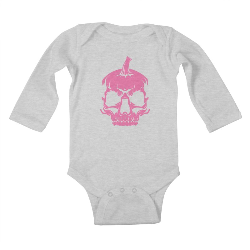Pink Classic MPC Pumpkin Skull Logo Kids Baby Longsleeve Bodysuit by Maniac Pumpkin Carvers Merch Shop