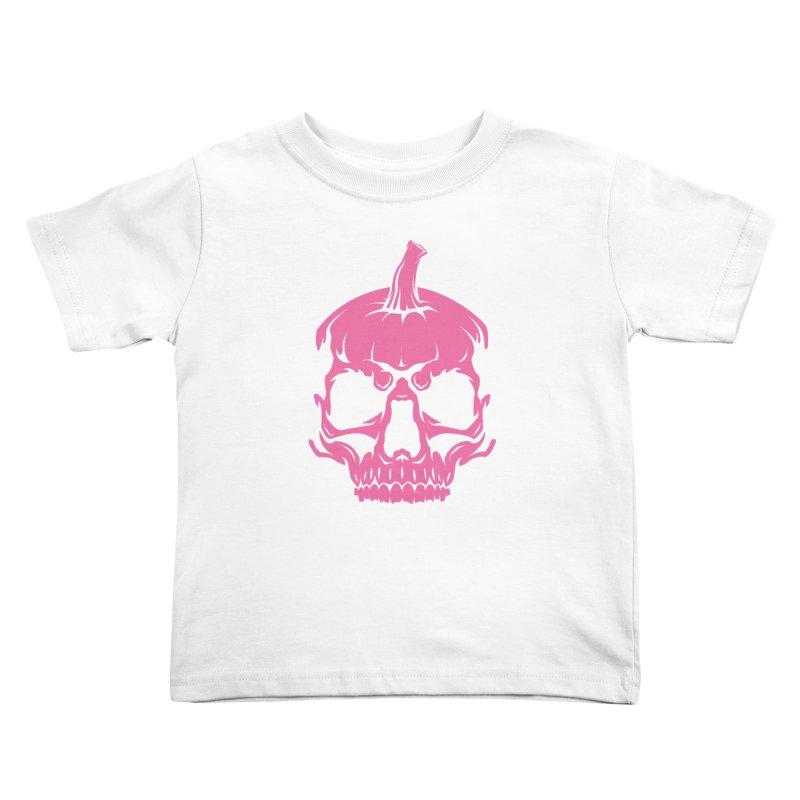 Pink Classic MPC Pumpkin Skull Logo Kids Toddler T-Shirt by Maniac Pumpkin Carvers Merch Shop