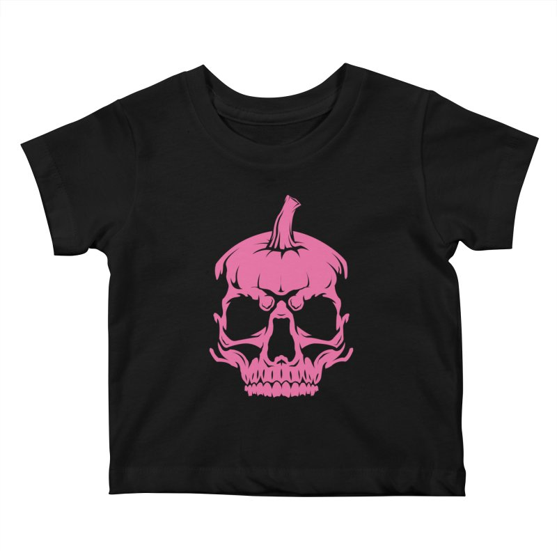 Pink Classic MPC Pumpkin Skull Logo Kids Baby T-Shirt by Maniac Pumpkin Carvers Merch Shop