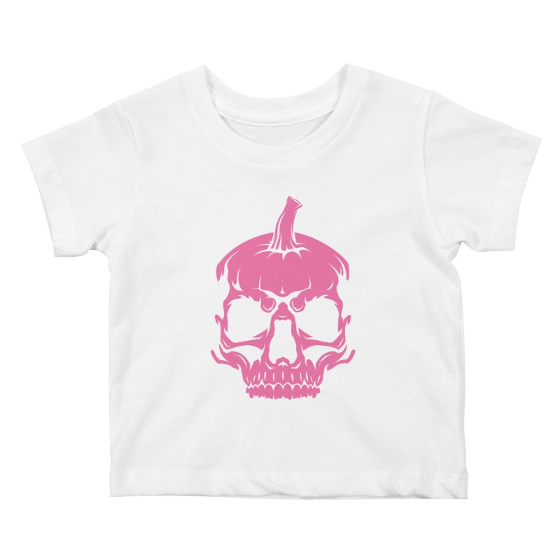 Pink Classic MPC Pumpkin Skull Logo Kids Baby T-Shirt by Maniac Pumpkin Carvers Merch Shop