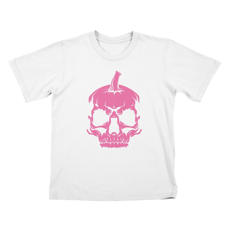 Pink Classic MPC Pumpkin Skull Logo Kids T-Shirt by Maniac Pumpkin Carvers Merch Shop