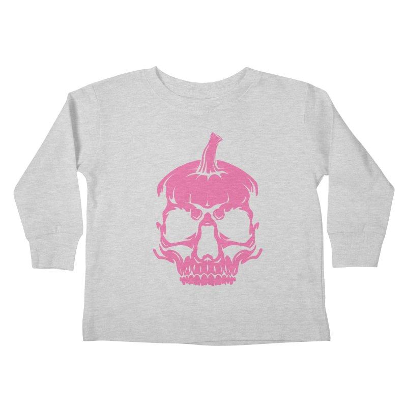 Pink Classic MPC Pumpkin Skull Logo Kids Toddler Longsleeve T-Shirt by Maniac Pumpkin Carvers Merch Shop