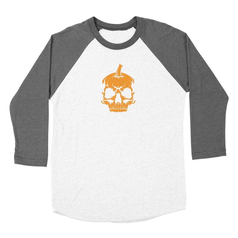 Classic Orange MPC Pumpkin Skull Logo Men's Baseball Triblend Longsleeve T-Shirt by Maniac Pumpkin Carvers Merch Shop