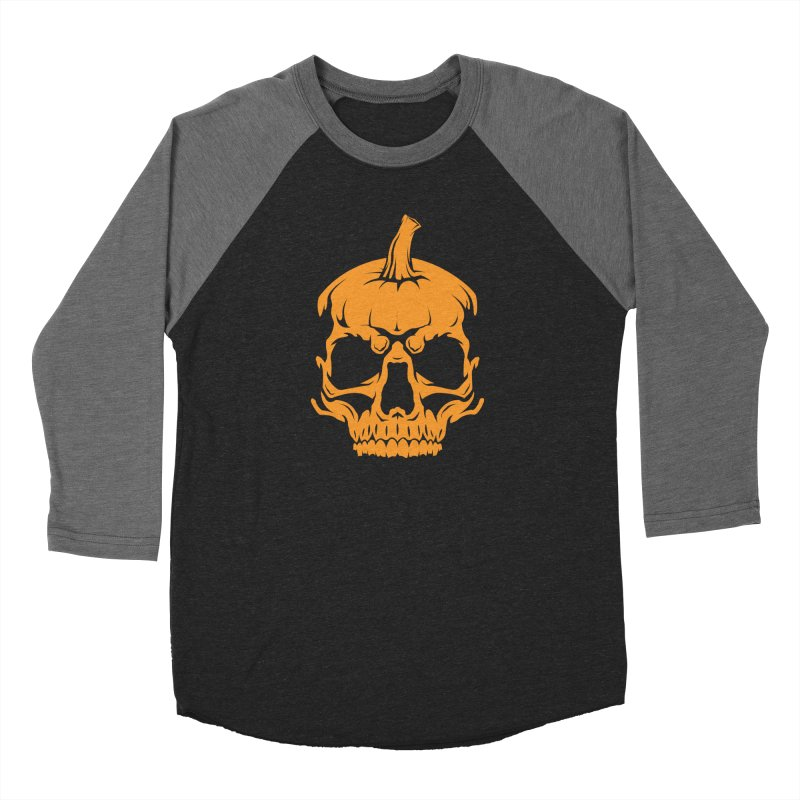 Classic Orange MPC Pumpkin Skull Logo Men's Baseball Triblend Longsleeve T-Shirt by Maniac Pumpkin Carvers Merch Shop