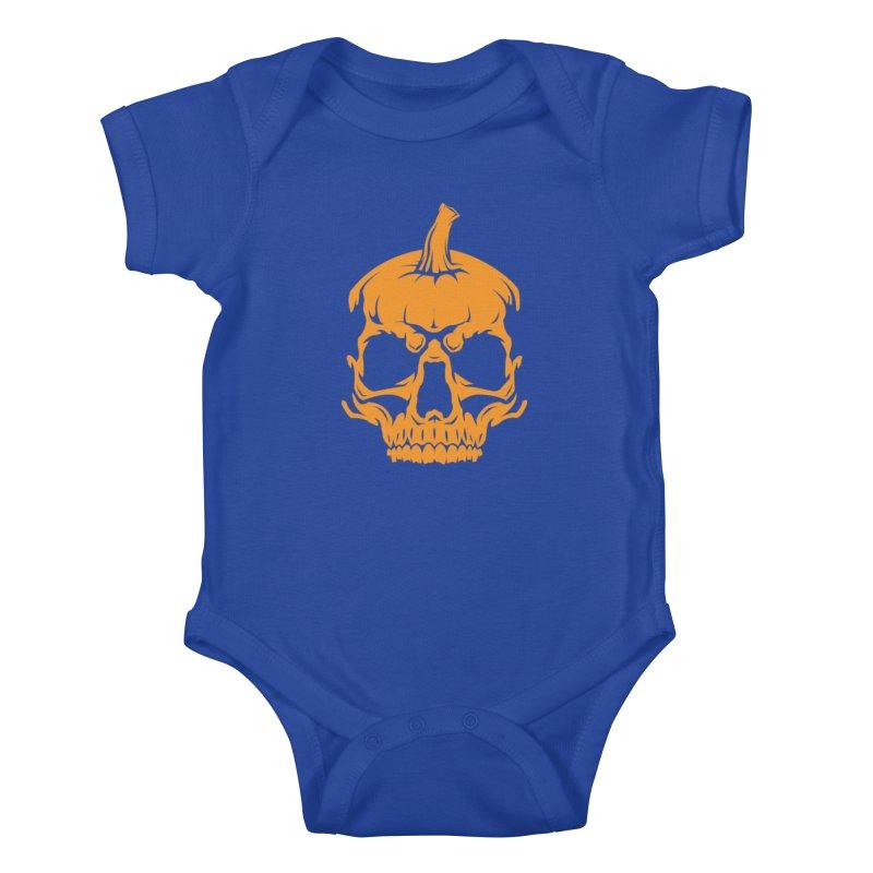 Classic Orange MPC Pumpkin Skull Logo Kids Baby Bodysuit by Maniac Pumpkin Carvers Merch Shop