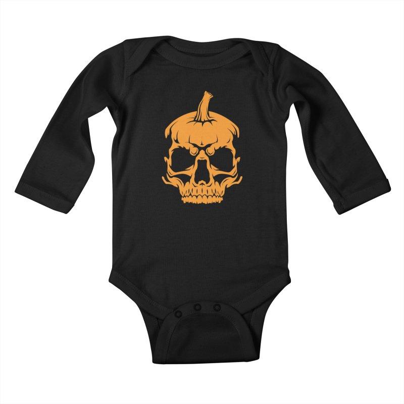 Classic Orange MPC Pumpkin Skull Logo Kids Baby Longsleeve Bodysuit by Maniac Pumpkin Carvers Merch Shop