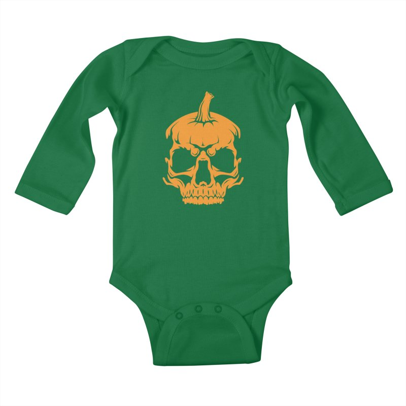 Classic Orange MPC Pumpkin Skull Logo Kids Baby Longsleeve Bodysuit by Maniac Pumpkin Carvers Merch Shop