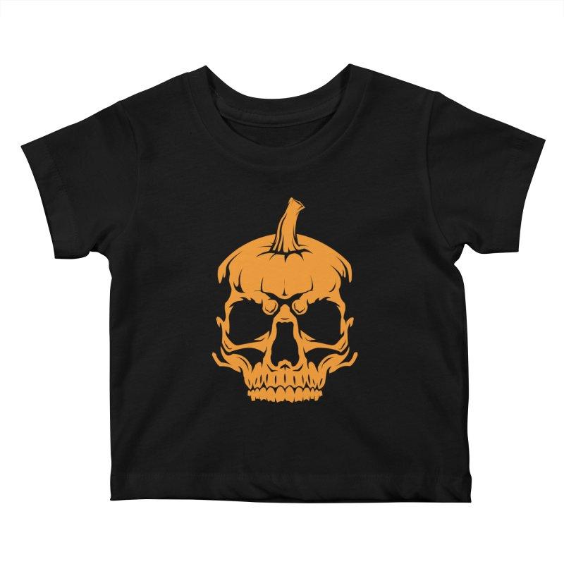 Classic Orange MPC Pumpkin Skull Logo Kids Baby T-Shirt by Maniac Pumpkin Carvers Merch Shop