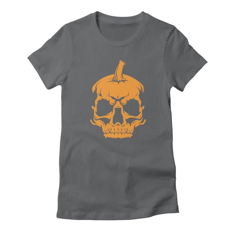 Classic Orange MPC Pumpkin Skull Logo Women's Fitted T-Shirt by Maniac Pumpkin Carvers Merch Shop