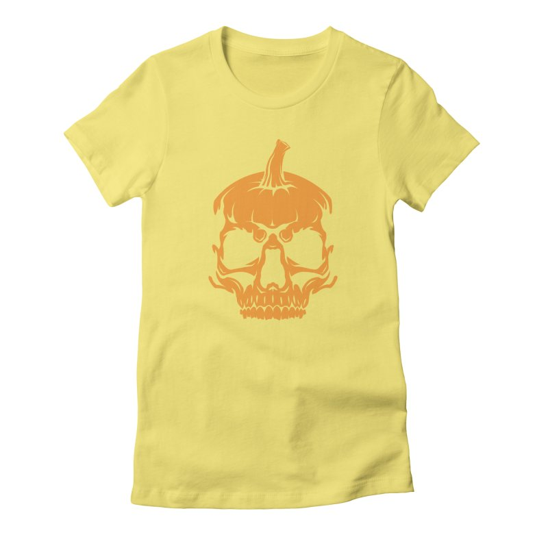 Classic Orange MPC Pumpkin Skull Logo Women's Fitted T-Shirt by Maniac Pumpkin Carvers Merch Shop