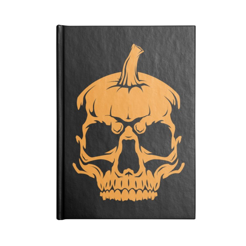 Classic Orange MPC Pumpkin Skull Logo Accessories Lined Journal Notebook by Maniac Pumpkin Carvers Merch Shop