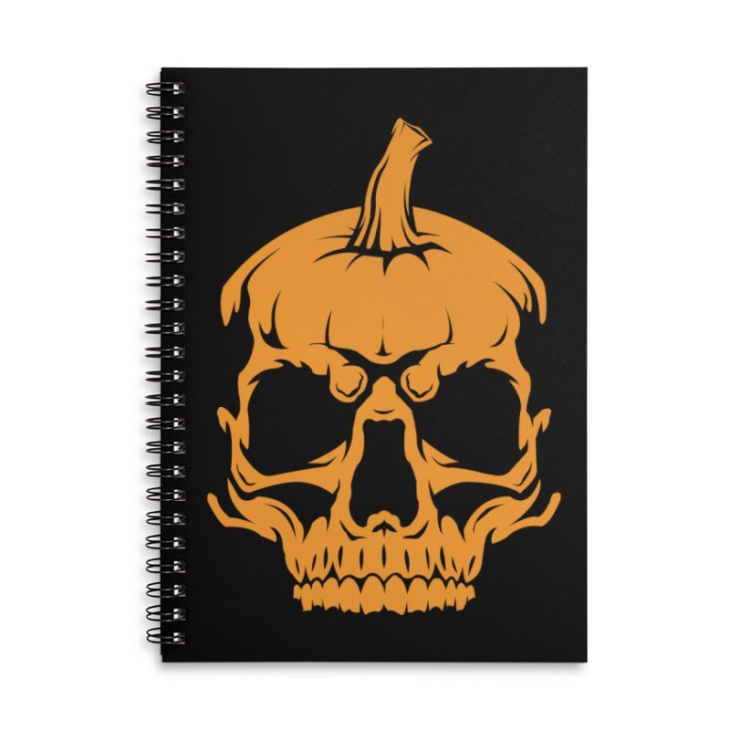 Classic Orange MPC Pumpkin Skull Logo Accessories Lined Spiral Notebook by Maniac Pumpkin Carvers Merch Shop