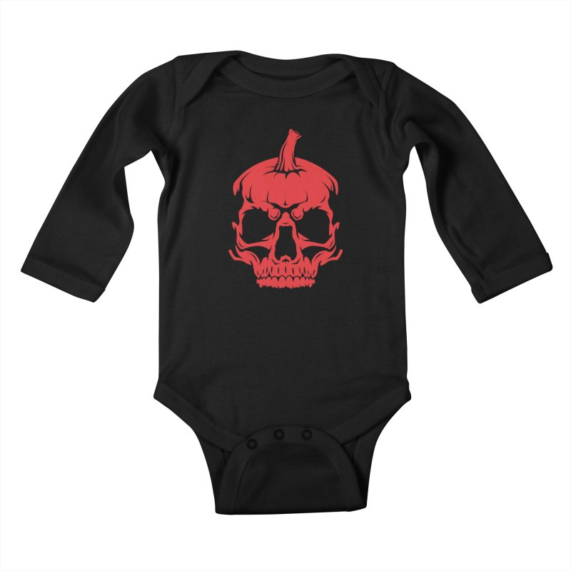 Red MPC Pumpkin Skull Kids Baby Longsleeve Bodysuit by Maniac Pumpkin Carvers Merch Shop