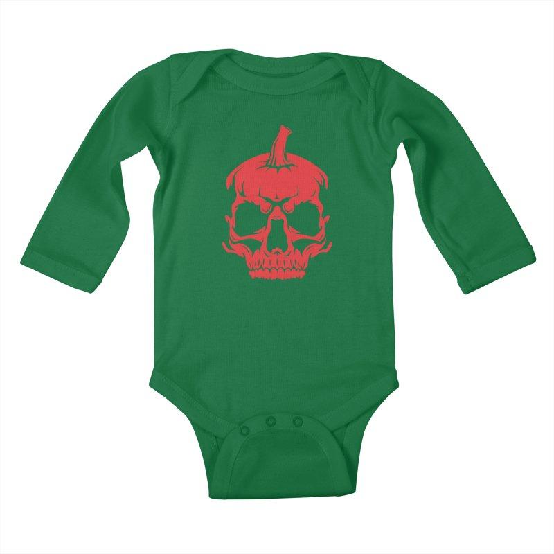 Red MPC Pumpkin Skull Kids Baby Longsleeve Bodysuit by Maniac Pumpkin Carvers Merch Shop
