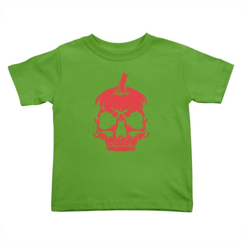 Red MPC Pumpkin Skull Kids Toddler T-Shirt by Maniac Pumpkin Carvers Merch Shop