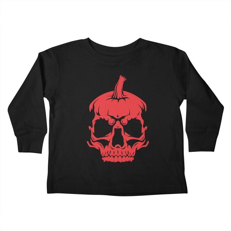 Red MPC Pumpkin Skull Kids Toddler Longsleeve T-Shirt by Maniac Pumpkin Carvers Merch Shop