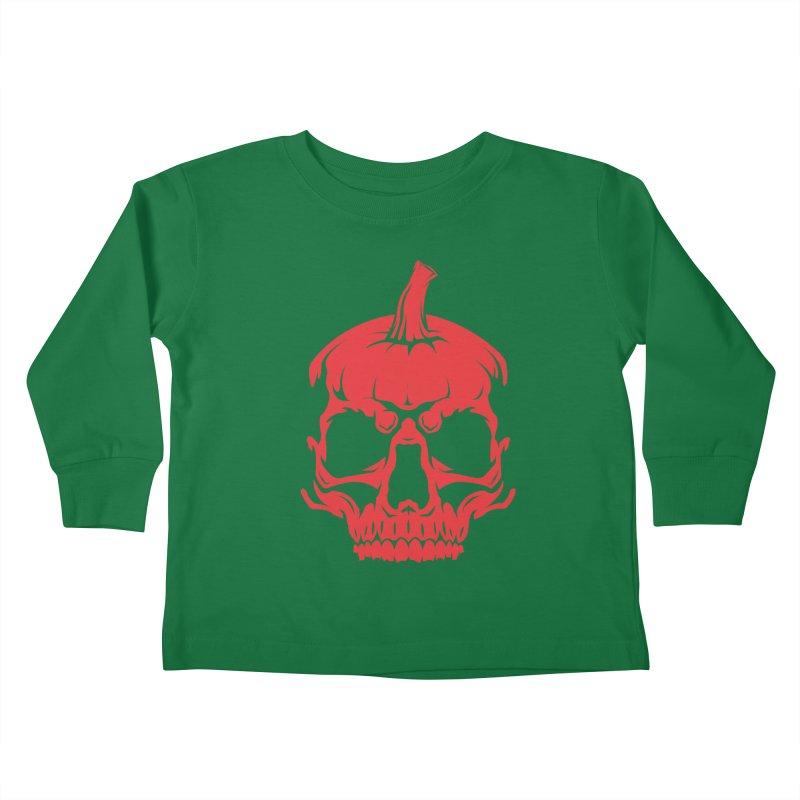 Red MPC Pumpkin Skull Kids Toddler Longsleeve T-Shirt by Maniac Pumpkin Carvers Merch Shop