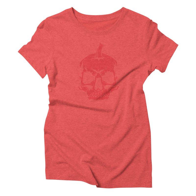 Red MPC Pumpkin Skull Women's T-Shirt by Maniac Pumpkin Carvers Merch Shop