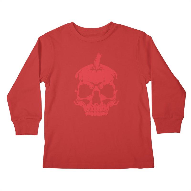 Red MPC Pumpkin Skull Kids Longsleeve T-Shirt by Maniac Pumpkin Carvers Merch Shop