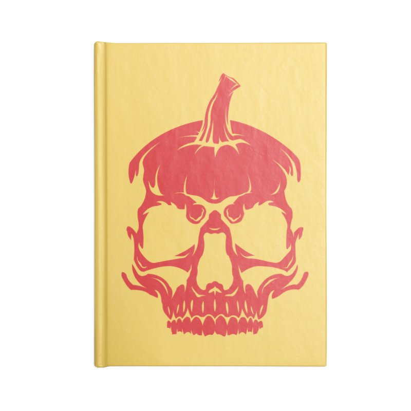 Red MPC Pumpkin Skull Accessories Lined Journal Notebook by Maniac Pumpkin Carvers Merch Shop