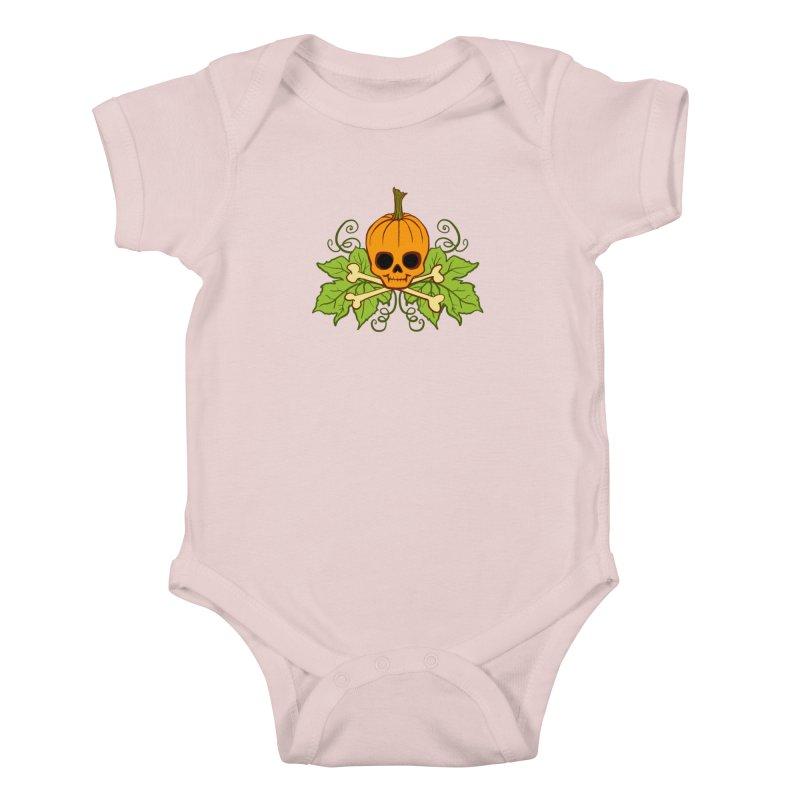 Lil' Maniac Pumpkin Skull Kids Baby Bodysuit by Maniac Pumpkin Carvers Merch Shop