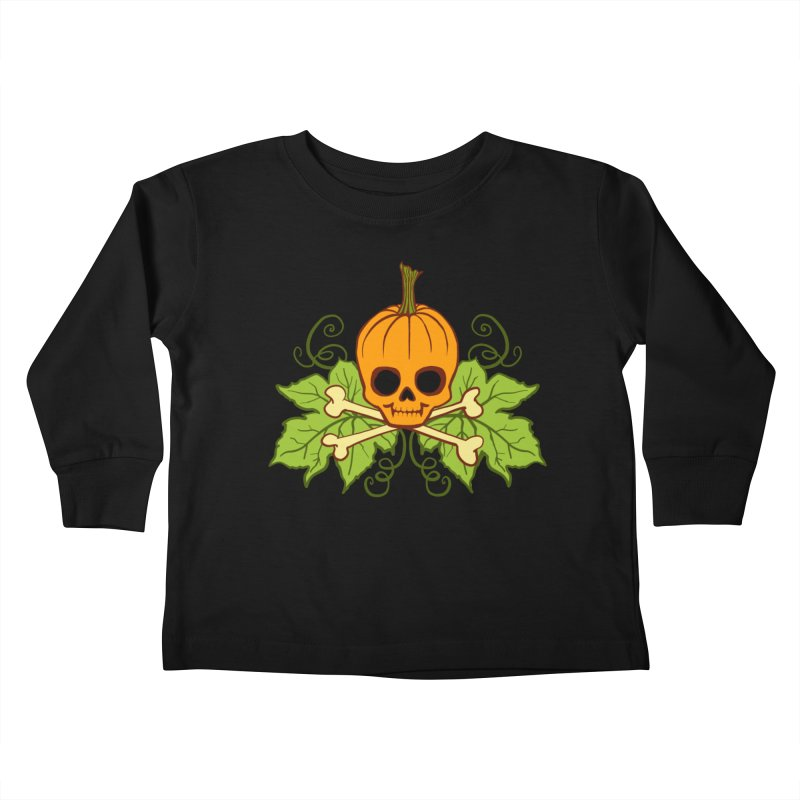 Lil' Maniac Pumpkin Skull Kids Toddler Longsleeve T-Shirt by Maniac Pumpkin Carvers Merch Shop