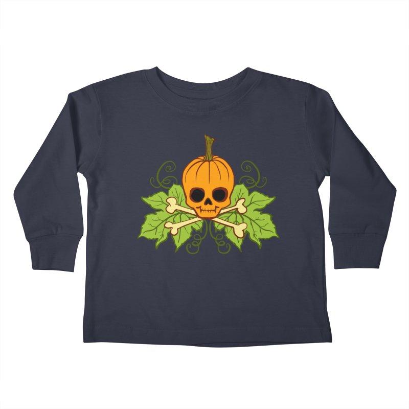 Lil' Maniac Pumpkin Skull Kids Toddler Longsleeve T-Shirt by Maniac Pumpkin Carvers Merch Shop