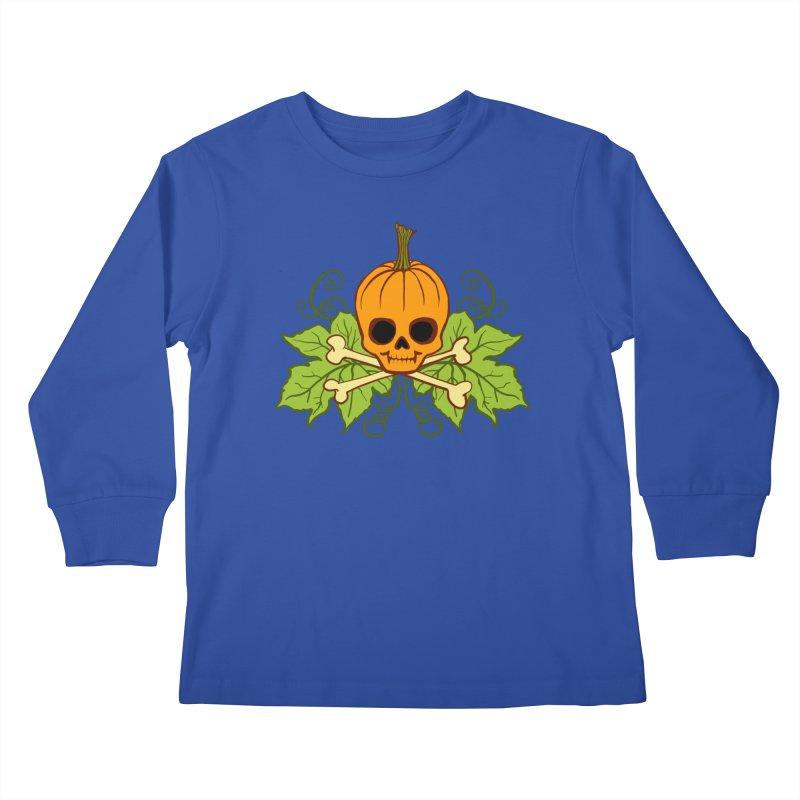 Lil' Maniac Pumpkin Skull Kids Longsleeve T-Shirt by Maniac Pumpkin Carvers Merch Shop