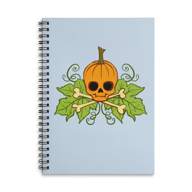 Lil' Maniac Pumpkin Skull Accessories Lined Spiral Notebook by Maniac Pumpkin Carvers Merch Shop
