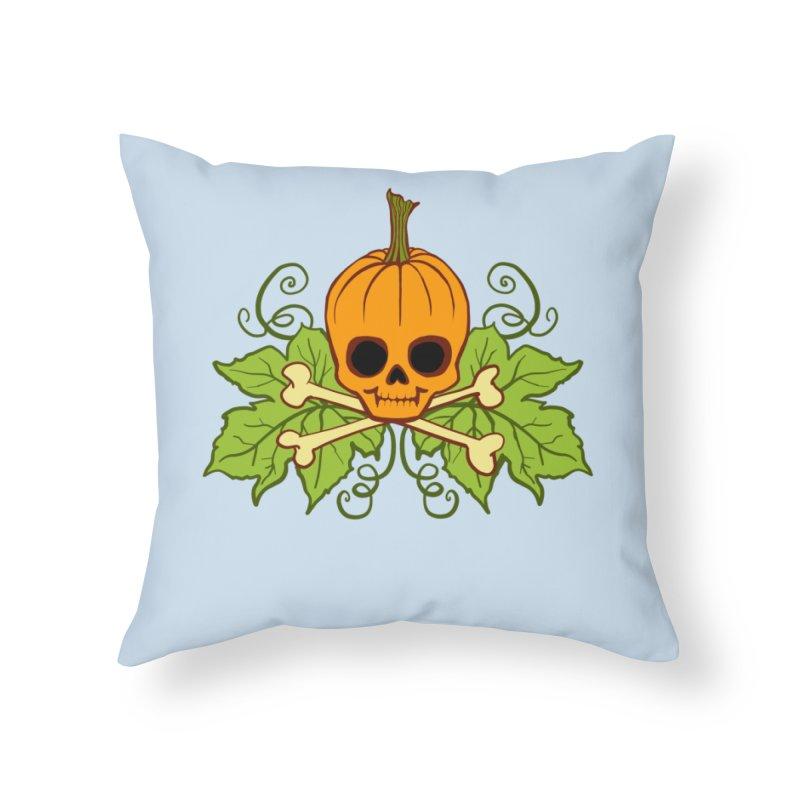 Lil' Maniac Pumpkin Skull Home Throw Pillow by Maniac Pumpkin Carvers Merch Shop