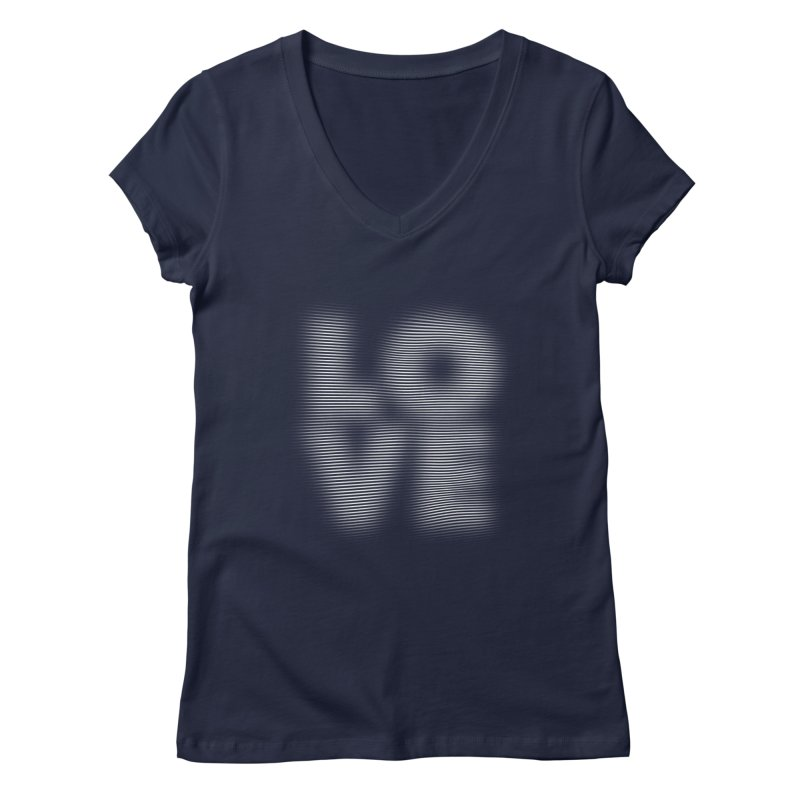 LOVE in Women's V-Neck Navy by ManuelLabrador's Artist Shop