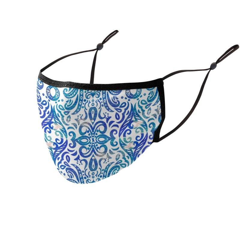 Blue Swirl by Marian Nixon Paintings Accessories Face Mask by Marian Nixon's Artist Shop