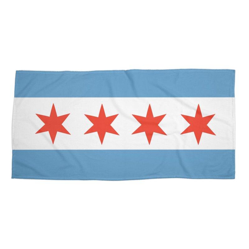 Chicago Flag Face Mask Accessories Beach Towel by Mariannixon's Artist Shop