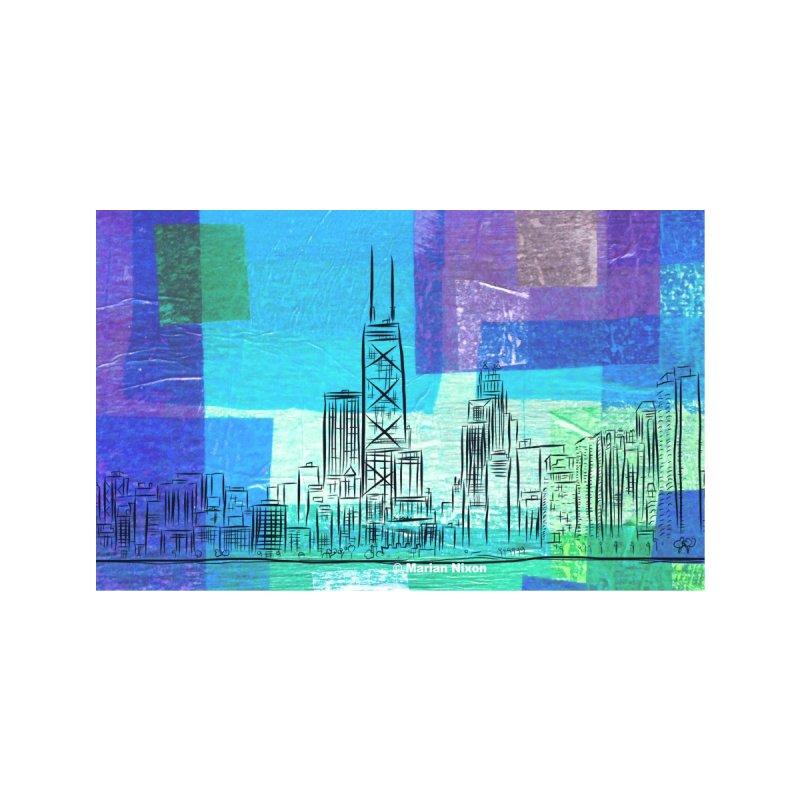 Chicago Skyline by Marian Nixon Paintings Men's T-Shirt by Marian Nixon's Artist Shop