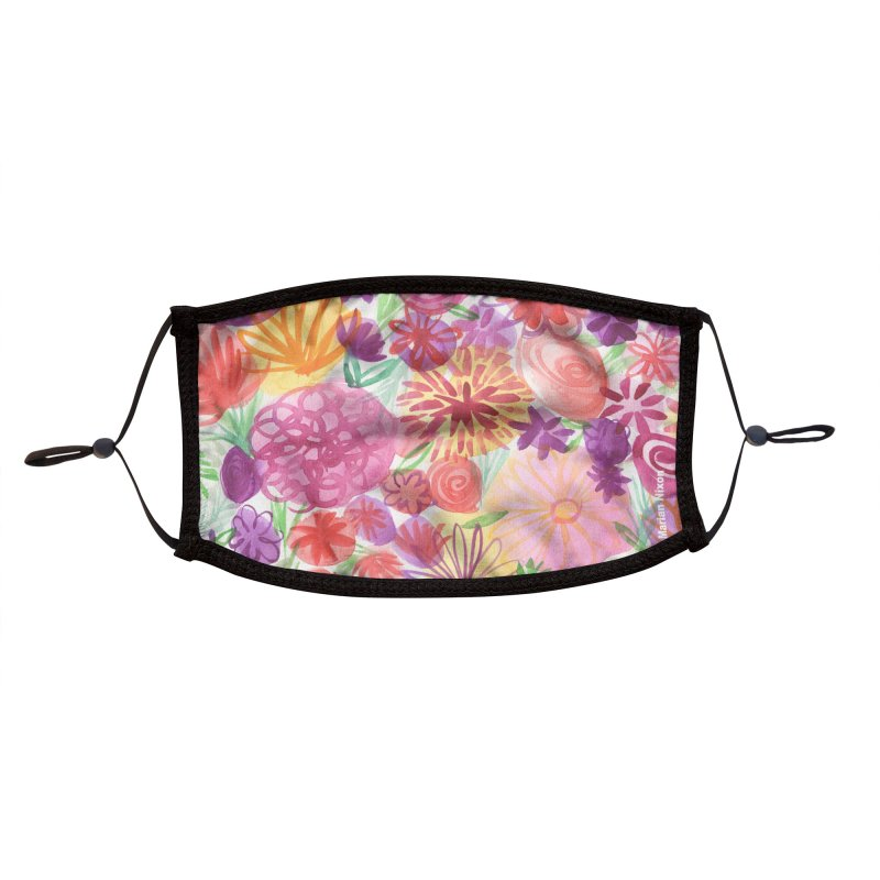 Pink Floral Watercolor by Marian Nixon Accessories Face Mask by Marian Nixon's Artist Shop