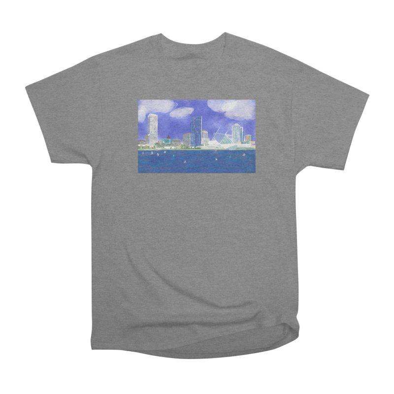 Milwaukee Skyline Art by Marian Nixon Men's T-Shirt by Marian Nixon's Artist Shop