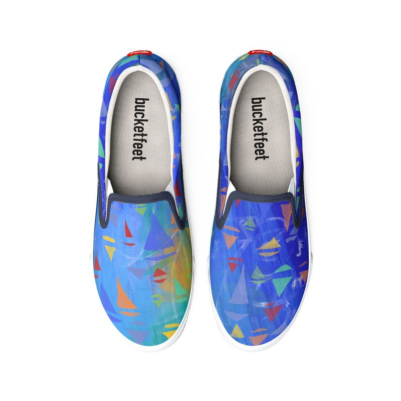 Seaside Sailboats by Marian Nixon Paintings Women's Shoes by Mariannixon's Artist Shop