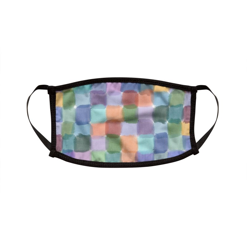 Watercolor Squares by Marian Nixon Paintings Accessories Face Mask by Mariannixon's Artist Shop