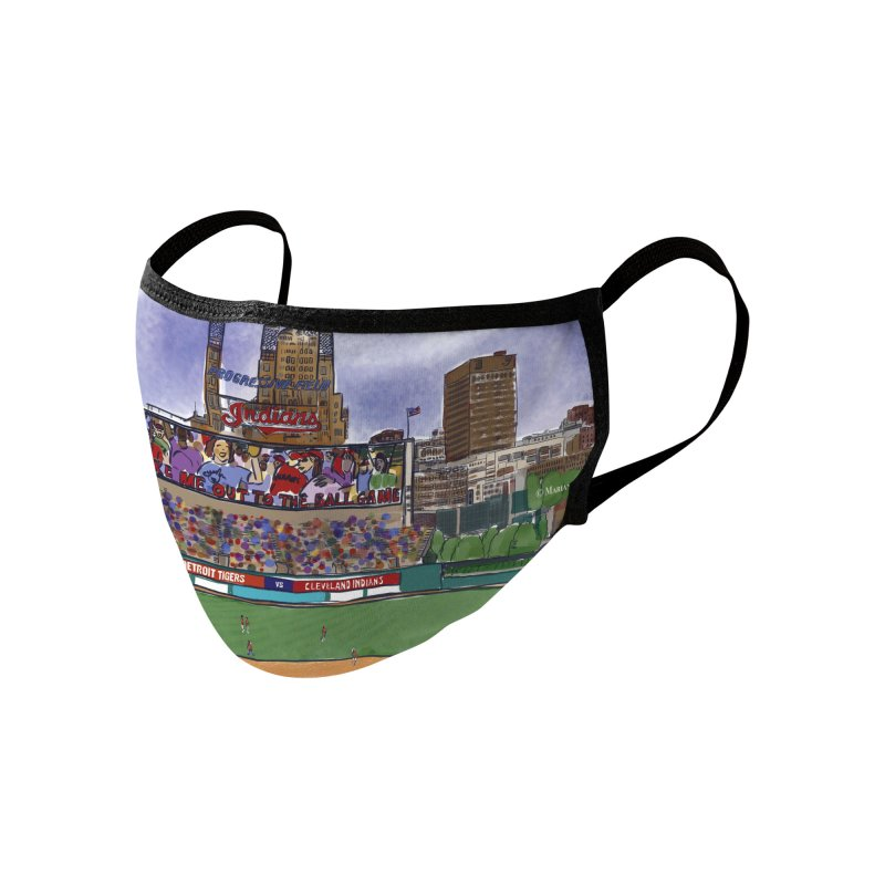 Cleveland Indians Baseball Art by Marian Nixon Paintings Accessories Face Mask by Mariannixon's Artist Shop