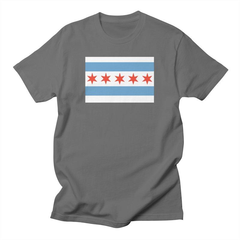 Chicago Flag 5 Stars by Marian Nixon Paintings Men's T-Shirt by Marian Nixon's Artist Shop