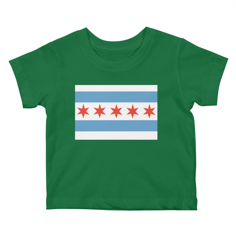 Chicago Flag 5 Stars by Marian Nixon Paintings Kids Baby T-Shirt by Mariannixon's Artist Shop