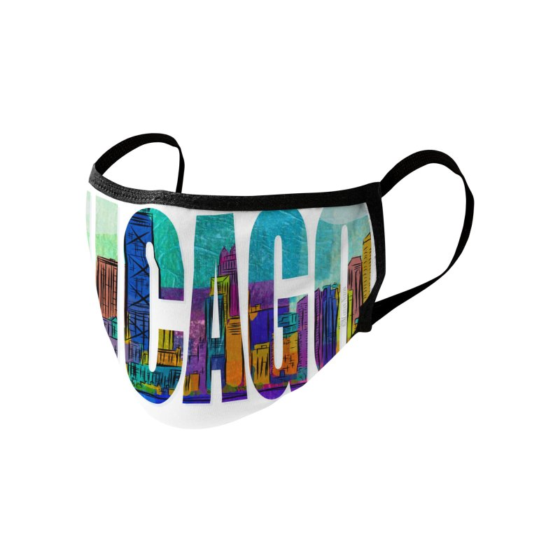 Chicago Skyline by Marian Nixon Paintings Accessories Face Mask by Mariannixon's Artist Shop