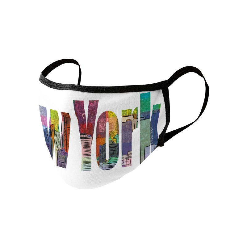 New York Skyline by Marian Nixon Paintings Accessories Face Mask by Mariannixon's Artist Shop