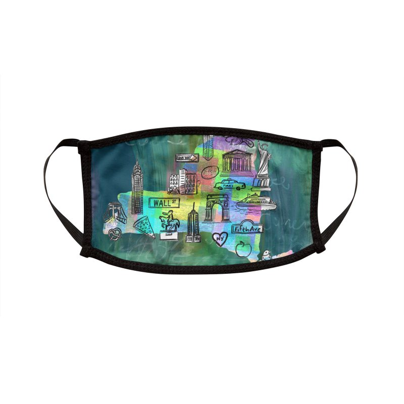 New York State by Marian Nixon Paintings Accessories Face Mask by Mariannixon's Artist Shop