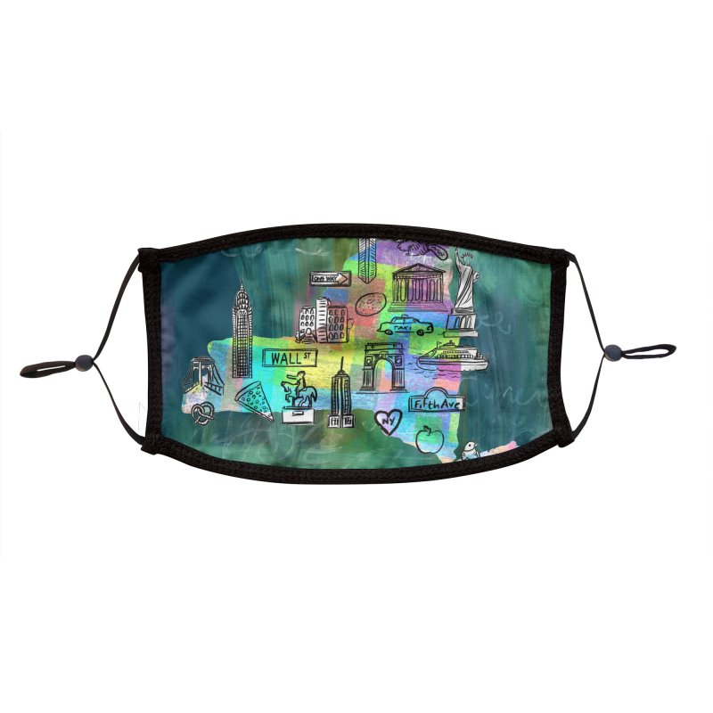 New York State by Marian Nixon Paintings Accessories Face Mask by Marian Nixon's Artist Shop
