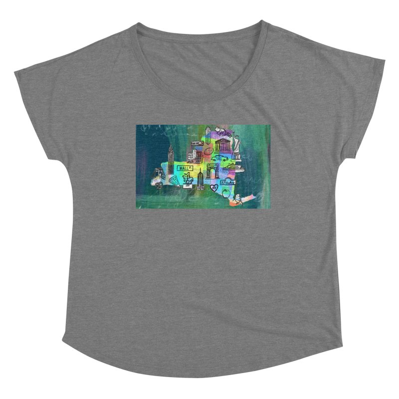 New York State by Marian Nixon Paintings Women's Scoop Neck by Mariannixon's Artist Shop