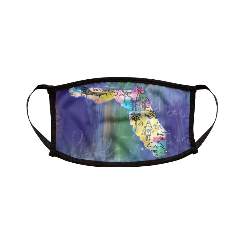 Florida Map by Marian Nixon Paintings Accessories Face Mask by Marian Nixon's Artist Shop